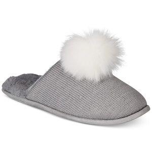 INC Pom Pom Knit Slippers Grey Size XL 11 12